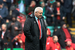 Head Coach Warren Gatland of Wales during the pre match warm up<br /> <br /> Photographer Simon King/Replay Images<br /> <br /> Six Nations Round 5 - Wales v Ireland - Saturday 16th March 2019 - Principality Stadium - Cardiff<br /> <br /> World Copyright © Replay Images . All rights reserved. info@replayimages.co.uk - http://replayimages.co.uk