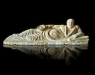 Etruscan Hellenistic style cinerary, funreary, urn cover with a man,  National Archaeological Museum Florence, Italy , black background .<br /> <br /> If you prefer to buy from our ALAMY PHOTO LIBRARY  Collection visit : https://www.alamy.com/portfolio/paul-williams-funkystock - Scroll down and type - Etruscan Florence - into LOWER search box. (TIP - Refine search by adding a background colour as well).<br /> <br /> Visit our ETRUSCAN PHOTO COLLECTIONS for more photos to download or buy as wall art prints https://funkystock.photoshelter.com/gallery-collection/Pictures-Images-of-Etruscan-Historic-Sites-Art-Artefacts-Antiquities/C0000GgxRXWVMLyc