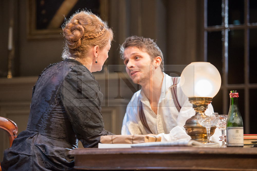 © Licensed to London News Pictures. 24/09/2013. The Rose Theatre Kingston and English Touring Theatre present Ghosts by Henrik Ibsen. Directed by Stephen Unwin. Featuring Pip Donaghy, Patrick Drury, Florence Hall, Kelly Hunter & Mark Quartley. Picture: Mark Quartley & Kelly Hunter. Photo credit: Tony Nandi/LNP