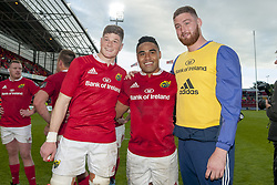 May 20, 2017 - Limerick, Irland - Jack O'Donoghue, Francis Saili and Darren O'Shea of Munster celebrate after the Guinness PRO12 Semi-Final match between Munster Rugby and Ospreys at Thomond Park Stadium in Limerick, Ireland on May 20, 2017  (Credit Image: © Andrew Surma/NurPhoto via ZUMA Press)