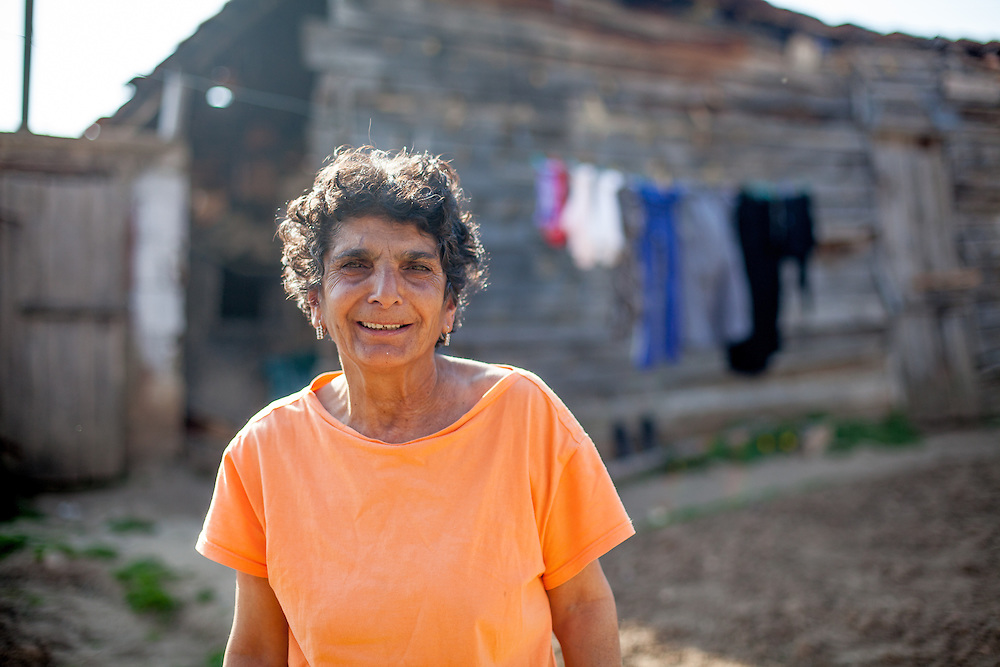 Portrait of a woman at the Roma part in the city of Crnik.