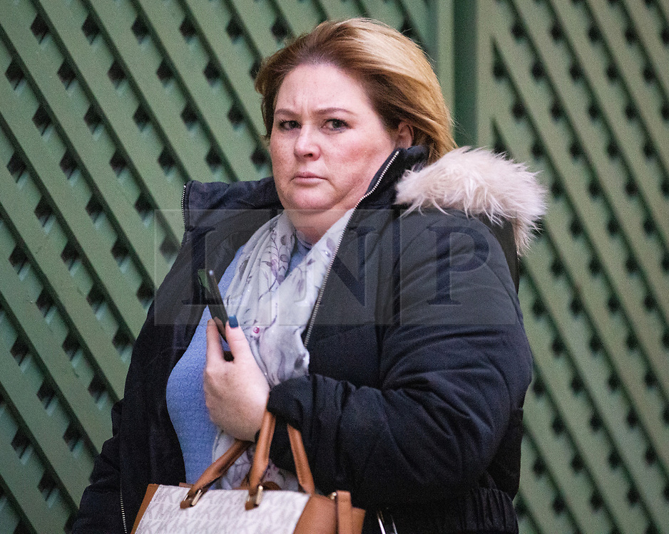 "© Licensed to London News Pictures . 23/11/2020 . Manchester, UK . Emma Fallon racist roadrage pictured outside of Manchester and Salford Magistrates Court after being convicted of a racially aggravated road rage offence . See "" Woman 'cut up' on motorway launched racist tirade as son, 6, 'begged her to stop "" at https://www.mirror.co.uk/news/uk-news/woman-cut-up-motorway-launched-23058124 . Photo credit : Joel Goodman/LNP"