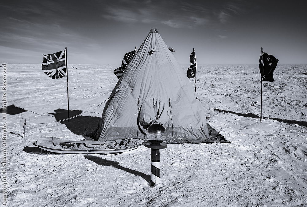 Ceremonial South Pole with the flags of the original signatories of the Antarctic Treaty flying. And a Scott tent, which is not something you would normally see set up next to the ceremonial Pole (the actual geographic South Pole is a couple hundred yeards away). A few hearty Polies camped out for the night. With 4 people in the tent they said it was reasonably warm, as high as zero F in the tent.