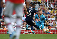 Football - 2019 Emirates Cup - Arsenal vs. Lyon<br /> <br /> Olympique Lyonnais' Moussa Dembele scores his side's second and winning goal, at the Emirates Stadium.<br /> <br /> COLORSPORT/ASHLEY WESTERN