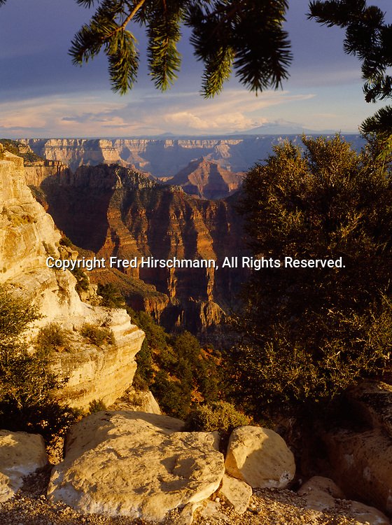 Obi Point and Angels Gate viewed from Bright Angel Point, North Rim, Grand Canyon National Park, Arizona.