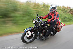 Byrne Bramwell riding his 1929 Henderson KJ during Stage 5 of the Motorcycle Cannonball Cross-Country Endurance Run, which on this day ran from Clarksville, TN to Cape Girardeau, MO., USA. Tuesday, September 9, 2014.  Photography ©2014 Michael Lichter.