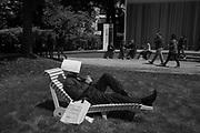 Man resting in the Giardini, Venice Biennale, 10 May 2017