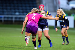 Captain Carys Phillips of Worcester Warriors Women is blocked by Anya Richmond of Loughborough Lightning  - Mandatory by-line: Nick Browning/JMP - 14/11/2020 - RUGBY - Sixways Stadium - Worcester, England - Worcester Warriors Women v Loughborough Lightning - Allianz Premier 15s