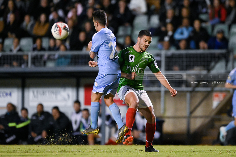 SYDNEY, AUSTRALIA - AUGUST 21: Marconi Stallions player Robert Speranza (4) and Melbourne City player Adrian Luna (20) fight for the ball during the FFA Cup round of 16 soccer match between Marconi Stallions FC and Melbourne City FC on August 21, 2019 at Marconi Stadium in Sydney, Australia. (Photo by Speed Media/Icon Sportswire)