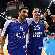 Anadolu Efes's Dogus Balbay (L) and Matthew Janning (R) celebrate victory during their Turkish Airlines Euroleague Basketball Top 16 Round 11 match Anadolu Efes between Nizhny Novgorod at Abdi ipekci arena in Istanbul, Turkey, Thursday March 19, 2015. Photo by Aykut AKICI/TURKPIX