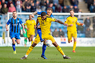 Oxford United forward Jerome Sinclair (9) and Gillingham FC defender Barry Fuller (12) during the EFL Sky Bet League 1 match between Gillingham and Oxford United at the MEMS Priestfield Stadium, Gillingham, England on 9 March 2019.
