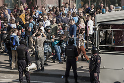 May 5, 2018 - Moscow, Moscow, Russia - A man is arrested by riot police in a demonstration against Putin in Pushkin square, Moscow, Russia, on 5 May 2018. (Credit Image: © Celestino Arce/NurPhoto via ZUMA Press)