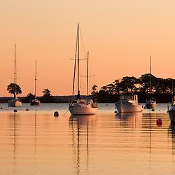 Dawn in Camden Harbor.  Camden, Maine.