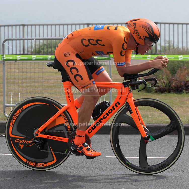 Thursday 7th September 2017: Team CCC Sprandi Polkowice rider, Alan Banaszek, was 110th on the day. The stage was an ITT around the Tendring district.