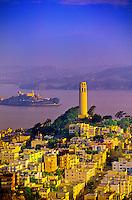 Coit Tower and Alcatraz, San Francisco, California USA