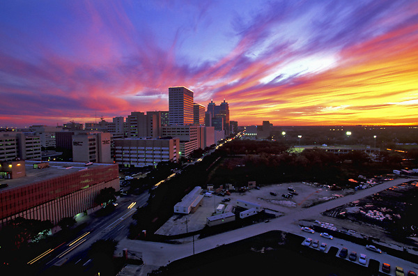 Texas Medical Center in Houston, Texas at sunset.