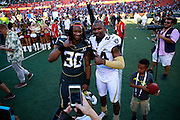 January 31 2016: Charles Woodson and Todd Gurley pose for a photo after the Pro Bowl at Aloha Stadium on Oahu, HI. (Photo by Aric Becker/Icon Sportswire)