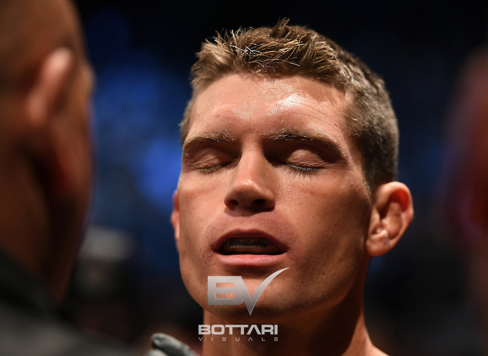 NEW YORK, NY - NOVEMBER 12:  Stephen Thompson of the United States is treated in between rounds against Tyron Woodley of the United States in their welterweight championship bout during the UFC 205 event at Madison Square Garden on November 12, 2016 in New York City.  (Photo by Jeff Bottari/Zuffa LLC/Zuffa LLC via Getty Images)