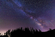 The Milky Way and Perseid meteor over Rose Valley, Los Padres National Forest, California USA