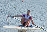 Reading. United Kingdom.  Men's single sculls, A Final.  Jack BEAUMONT,   2014 Senior GB Rowing Trails, Redgrave and Pinsent Rowing Lake. Caversham.<br /> <br /> 17:42:59  Saturday  19/04/2014 <br /> <br />  [Mandatory Credit: Peter Spurrier/Intersport<br /> Images]