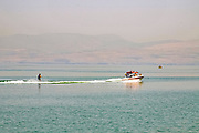 Israel, Lower Galilees, Summer Vacation at the Sea of Galilee water sports skiing