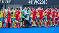 BHUBANESWAR, INDIA -  Shake hands , keeper Harry Gibson (Eng) , England v Australia for the bronze medal during the Odisha World Cup Hockey for men  in the Kalinga Stadion.   COPYRIGHT KOEN SUYK