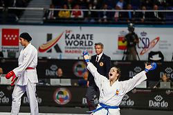 November 10, 2018 - Madrid, Madrid, Spain - Laura Palacio of Spain celebrates the victory and the bronce medal and the third place of Female Kumite for Team tournament during the Finals of Karate World Championship celebrates in Wizink Center, Madrid, Spain, on November 10th, 2018. (Credit Image: © AFP7 via ZUMA Wire)