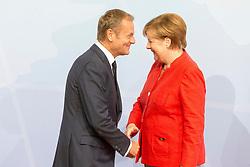 July 7, 2017 - Hamburg, Hamburg, Deutschland - Donald Tusk und Angela Merkel bei der Begrüßung der Teilnehmer des 12. G20 Gipfel 2017. Hamburg, 07.07.2017 (Credit Image: © Future-Image via ZUMA Press)