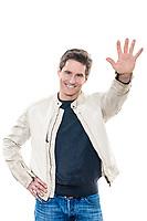 one  man mature handsome portrait saluting high five studio white background