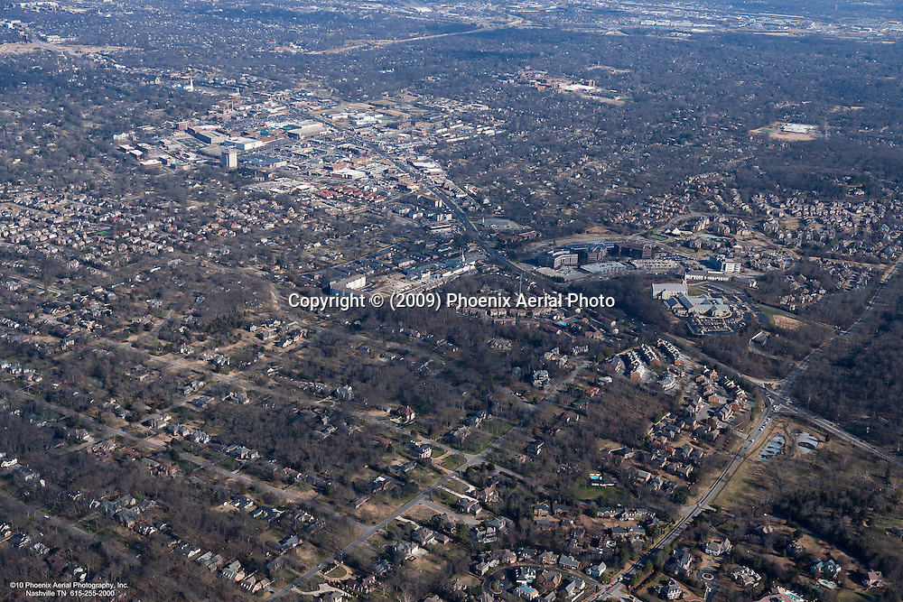 Aerial photo of residential area in Green Hills showing intersection of Hillsboro Road and  Harding Road including Kings of Leon's bass players home on Trimble Avenue, Burton Hills and Green Hills Mall.