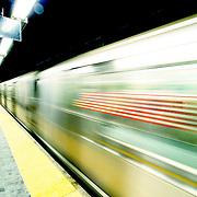 Subway train passes, New York, United States (March 2005)