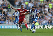 Brighton defender, full back, Liam Rosenior and Cardiff City midfielder Joe Ralls during the Sky Bet Championship match between Brighton and Hove Albion and Cardiff City at the American Express Community Stadium, Brighton and Hove, England on 3 October 2015.