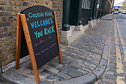 Pub on Wapping HIgh Street is about to reopen as non-essential retail and outdoor venues are about to reopen and the national coronavirus lockdown three eases on 12th April 2021 in London, United Kingdom. The Captain Kidd has will be welcoming drinkers outside from midday.