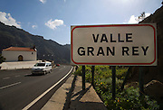 Roadsign welcoming drivers to Valle Gran Rey, La Gomera, in the Canary Islands.