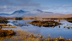"""On the edge of Rannoch Moor """"Lochan nah-Achaise"""" in the foreground with the peaks of Stob Ghabhar and Clach Leathad<br /> <br /> (c) Andrew Wilson 