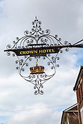 Elaborate decorated sign for the Crown Hotel, Southwold, Suffolk, England, UK