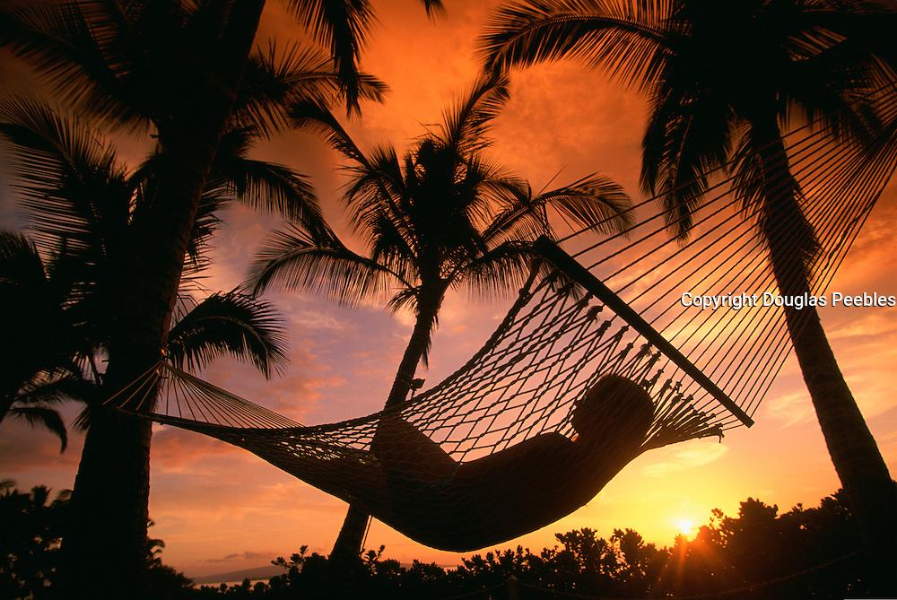 Hammock, Sunset, Maui, Hawaii, USA<br />