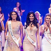 NLD/Hilversum/20131208 - Miss Nederland finale 2013, Laura van Rees , Christiana Terwilliger, Yasmin Verheijen, Fay Tholen