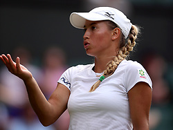 Yulia Putintseva in action on day one of the Wimbledon Championships at the All England Lawn Tennis and Croquet Club, Wimbledon.