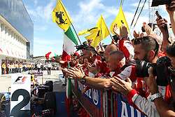 26.07.2015, Hungaroring, Budapest, HUN, FIA, Formel 1, Grand Prix von Ungarn, das Rennen, im Bild Ferrari Mitarbeiter Feiern // during the race of the Hungarian Formula One Grand Prix at the Hungaroring in Budapest, Hungary on 2015/07/26. EXPA Pictures © 2015, PhotoCredit: EXPA/ Eibner-Pressefoto/ Bermel<br /> <br /> *****ATTENTION - OUT of GER*****