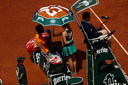 June 5, 2017 - Paris, France - Gael Monfils of France during his match with Stan Wawrinka of Switzerland on Day Nine at Roland Garros on June 5, 2017 in Paris, France. (Credit Image: © Mehdi Taamallah/NurPhoto via ZUMA Press)