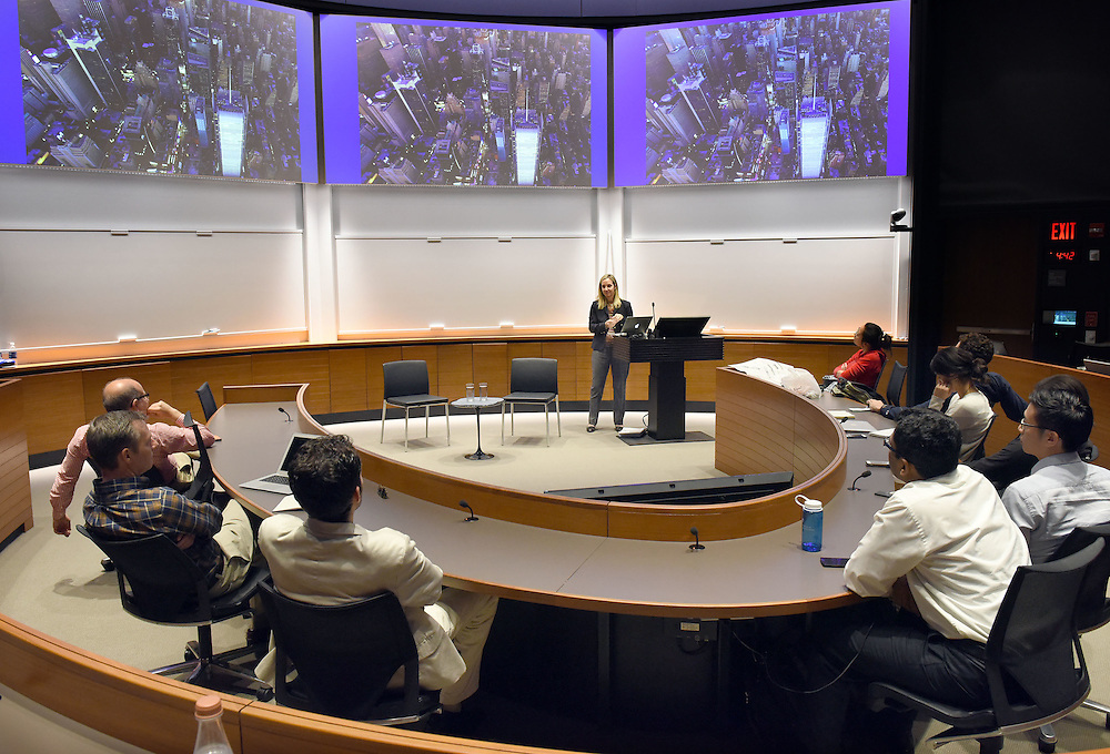 Photo by Mara Lavitt<br /> October 13, 2015 <br /> New York Times journalist and Poynter Fellow Louise Story spoke at Yale University School of Management.