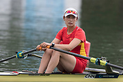 Plovdiv, Bulgaria, 10th May 2019, FISA, Rowing World Cup 1,  Start Area, CHN W1X,  Yan JIANG, move's away from the start pontoon in her heat of the Women's Single Sculls. [© Peter SPURRIER],
