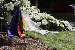July 3, 2017 - Speyer, Rhineland-Palatinate, Germany - A wreath with an European and German flag lye next to the grave of Helmut Kohl. People are coming to visit the grave of the former German Chancellor Helmut Kohl in the Adenauer Park in Speyer and pay their respect to him. The grave is located in the grave yard of the Cathedral chapter of the Speyer Cathedral, to show Kohl's closeness to the city of Speyer and its Cathedral since early childhood. (Credit Image: © Michael Debets/Pacific Press via ZUMA Wire)