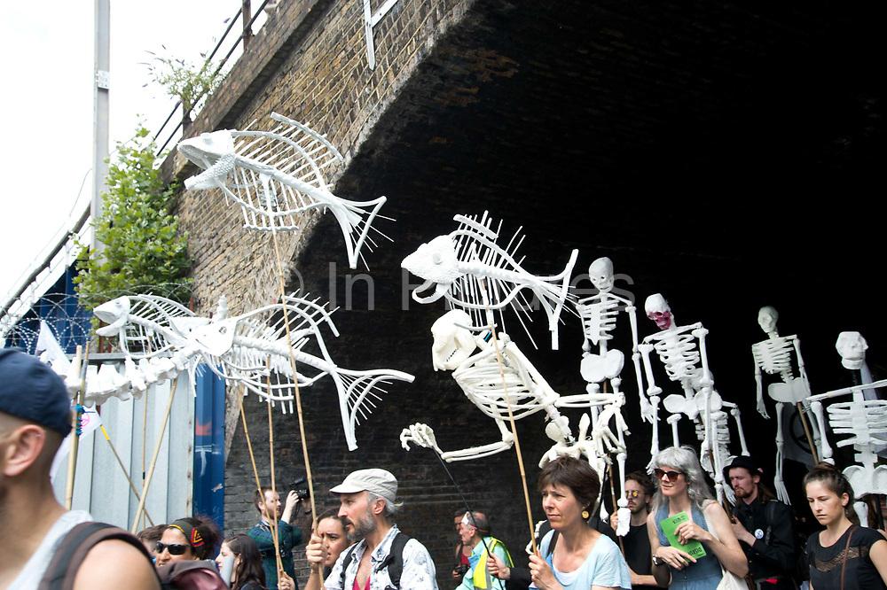 Extinction Rebellion - East London Uprising on July 13th 2019 in Hackney, London, United Kingdom. Hackney Downs to London Fields march.
