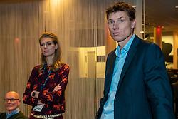 08–01-2020 NED: Olympic qualification tournament women, Apeldoorn<br /> Bulgaria - Netherlands 0-3 / VIP Meeting before the start of the match, Bas van de Goor en Manon Nummerdor Flier