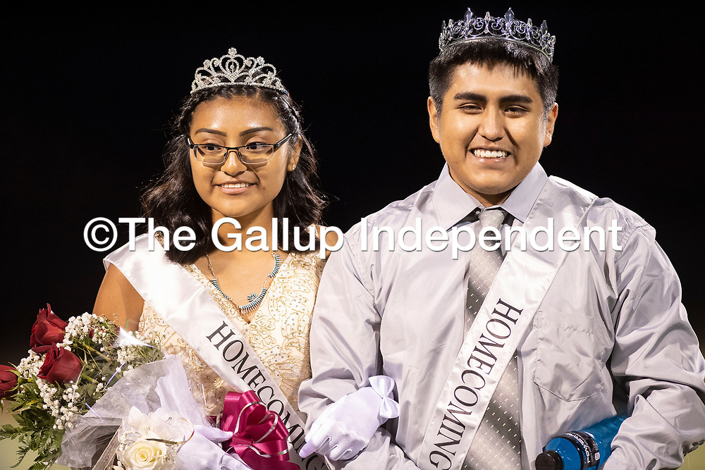 Kaylee Kallestewa (left) and Javon Chavez named Homecoming King and Queen during halftime at the Ramah Mustangs and Navajo Pine Warriors football game, Thursday, Oct. 11, 2018.