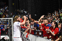 Mikkel Hansen avec les Supporters - 07.05.2015 - Montpellier / Paris Saint Germain - 22eme journee de Division 1<br />