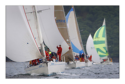 Yachting- The first days inshore racing  of the Bell Lawrie Scottish series 2003 at Tarbert Loch Fyne.  Light shifty winds dominated the racing...Matata 8125C, Bill Carlaw's Swan 48 trailing in the Class one fleet...Pics Marc Turner / PFM