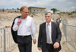 Janez Skrabec and Mirko Bandelj at open door day 1 year before opening of new football stadium and sports hall in Stozice,  on June 30, 2009, at Stadium Stozice, Ljubljana, Slovenia. (Photo by Vid Ponikvar / Sportida)